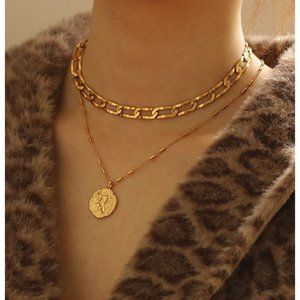 Lion coin charm necklace